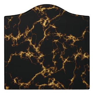 Plaque De Porte Marbre élégant style3 - or noir