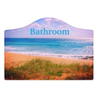 Plaque De Porte Plage avec la salle de bains de dunes
