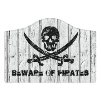 Plaque De Porte Prenez garde des pirates