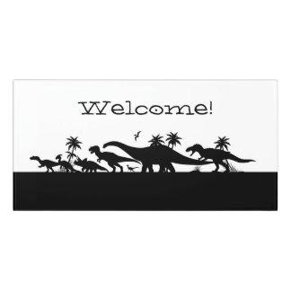 Plaque De Porte Silhouettes de dinosaure