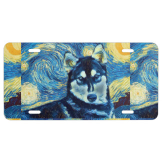 Plaque D'immatriculation Plaque minéralogique de chien de traîneau sibérien