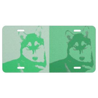 Plaque D'immatriculation Plaque minéralogique verte de chien de traîneau