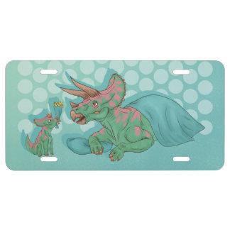 Plaque D'immatriculation Triceratops donnant des fleurs