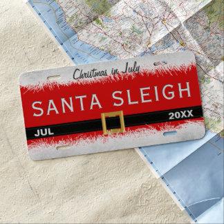 Plaque minéralogique rouge de Père Noël Sleigh