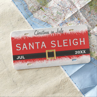 Plaque minéralogique rouge de Père Noël Sleigh de