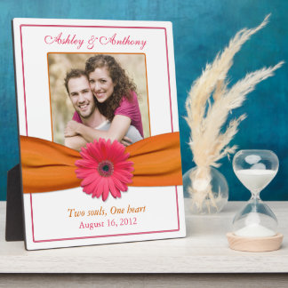 Plaque orange de photo de mariage de ruban de Gerb Photos Sur Plaques