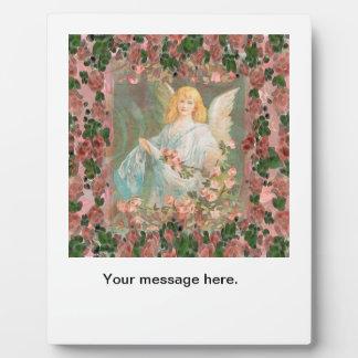 Plaque Photo Ange gardien avec les roses roses