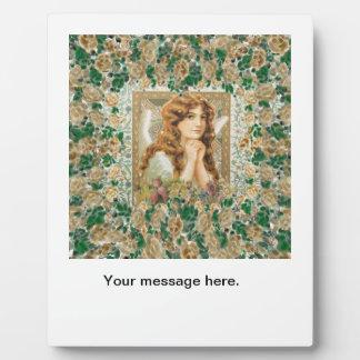 Plaque Photo Ange vintage avec les roses jaunes