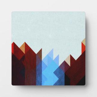 Plaque Photo Art géométrique bleu rouge