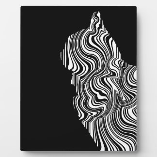 Plaque Photo Black and White Cat Swirl abstrait monochrome