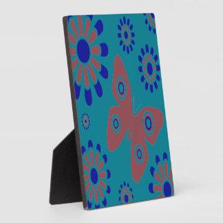 Plaque Photo Bleu de papillon floral et rose turquoises