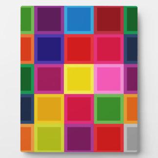 Plaque Photo Carrés multi et rayures colorés Girly