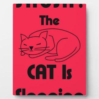 Plaque Photo CHUT ! Le chat dort