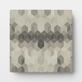 Plaque Photo Dessin géométrique de cube en gamme de gris