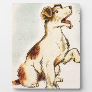Plaque Photo Dessin vintage de chien d'écorcement