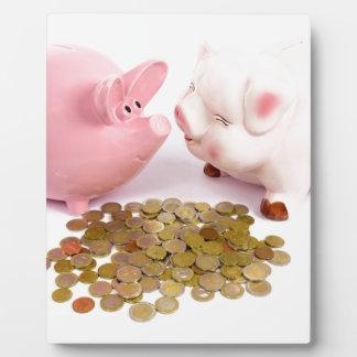 Plaque Photo Deux tirelires avec d'euro pièces de monnaie sur
