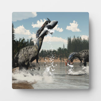 Plaque Photo Dinosaures de Suchomimus pêchant les poissons et