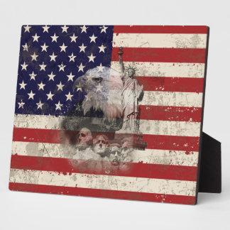 Plaque Photo Drapeau et symboles des Etats-Unis ID155