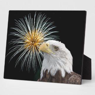 Plaque Photo Eagle chauve et feux d'artifice