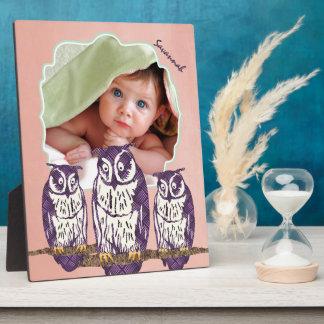 Plaque Photo Famille géométrique stylisée pourpre de hibou