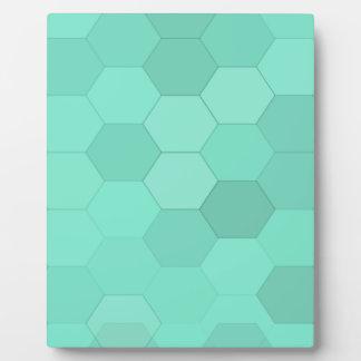 Plaque Photo Hexagones bleu vert