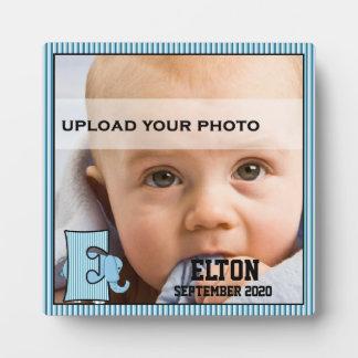 """Plaque Photo La photo décorée d'un monogramme de """"E"""" du bébé"""