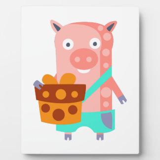 Plaque Photo Le porc avec la partie attribue génial stylisé