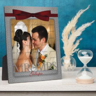 Plaque Photo M. et Mme rouges et argentés Wedding Photo de 8x10