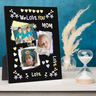Plaque Photo Noir personnalisé nous vous aimons photo de maman
