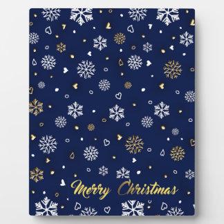 Plaque Photo Or de Joyeux Noël et flocons de neige blancs