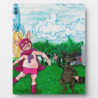 Plaque Photo Porc et raton laveur et un Rocket