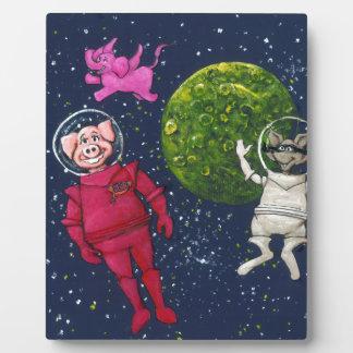 Plaque Photo Porc, raton laveur et éléphant rose