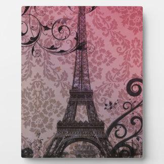 Plaque Photo Tour Eiffel romantique de Paris de damassé de rose