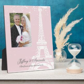 Plaque rose de photo de mariage de Tour Eiffel Plaques D'affichage