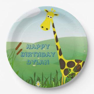 Plaques à papier d'anniversaire mignon de girafe assiettes en papier