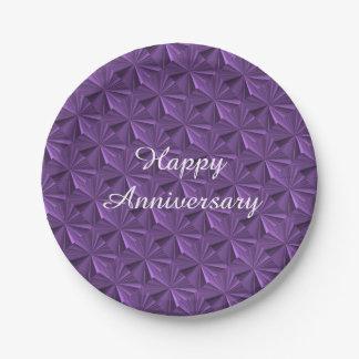 Plaques à papier de diamant pourpre d'anniversaire assiettes en papier
