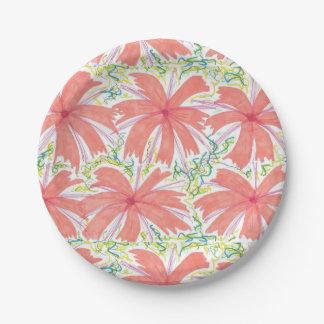 Plaques à papier de fleur tropicale ensoleillée assiettes en papier