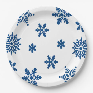 Plaques à papier de flocons de neige bleus assiettes en papier