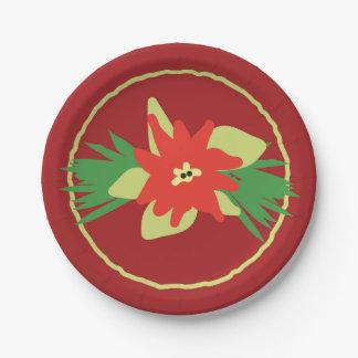 Plaques à papier de Flora de Noël de poinsettia Assiettes En Papier
