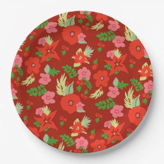 Plaques à papier de Flora de Noël rouge Assiettes En Papier