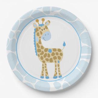 Plaques à papier de girafe bleue assiettes en papier
