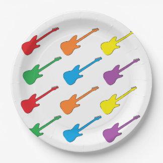 Plaques à papier de guitare d'arc-en-ciel assiette en papier 22,8 cm