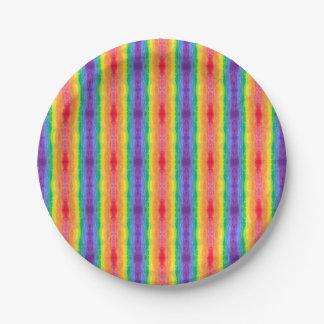 Plaques à papier de la rayure 2 d'arc-en-ciel assiettes en papier
