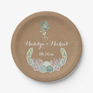 Plaques à papier de mariage fait sur commande de assiettes en papier