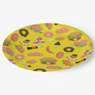 Plaques à papier de pique-nique de jaune de temps assiettes en papier