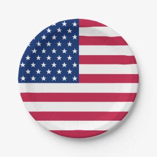 Plaques à papier de rayures des USA d'étoiles de Assiettes En Papier