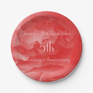 Plaques à papier de rose de corail, 5ème assiettes en papier