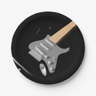 Plaques à papier noires de guitare électrique assiettes en papier