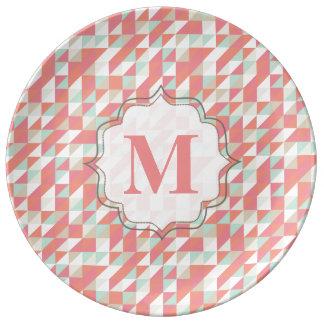 Plat aztèque de monogramme de motif de triangle de assiette en porcelaine