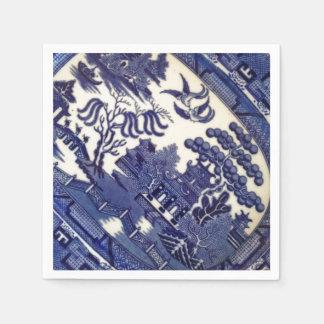 Plat bleu vintage de tuile de motif de plat de la serviettes jetables